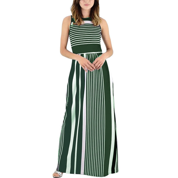 Women Summer Sleeveless Crewneck Striped Long Maxi Dress With Pockets