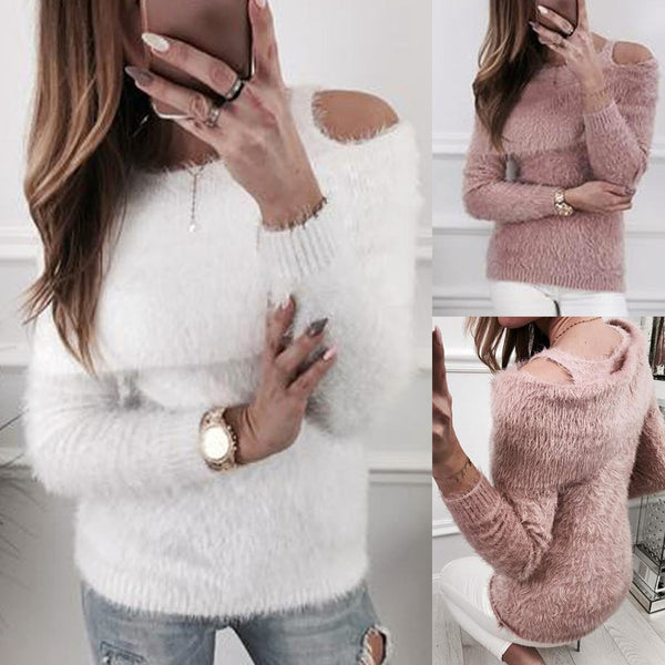 Women Solid Fluffy Sweater Jumper Cold Shoulder Long Sleeve Pullover Tops Blouse