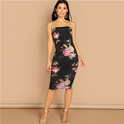 SHEIN Multicolor Flower Print Cami Dress Knee Length Mid Waist Slim Fit Spaghetti Dress 2018 Autumn Modern Lady Women Dresses