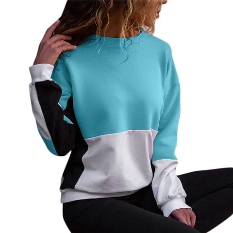 Sweatshirt Womens Color Black O-Neck Long Sleeve Blouse Patchwork Pullover Top