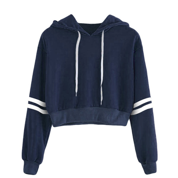 Women Varsity-Striped Drawstring Crop Hoodie Sweatshirt Jumper Crop Pullover Top