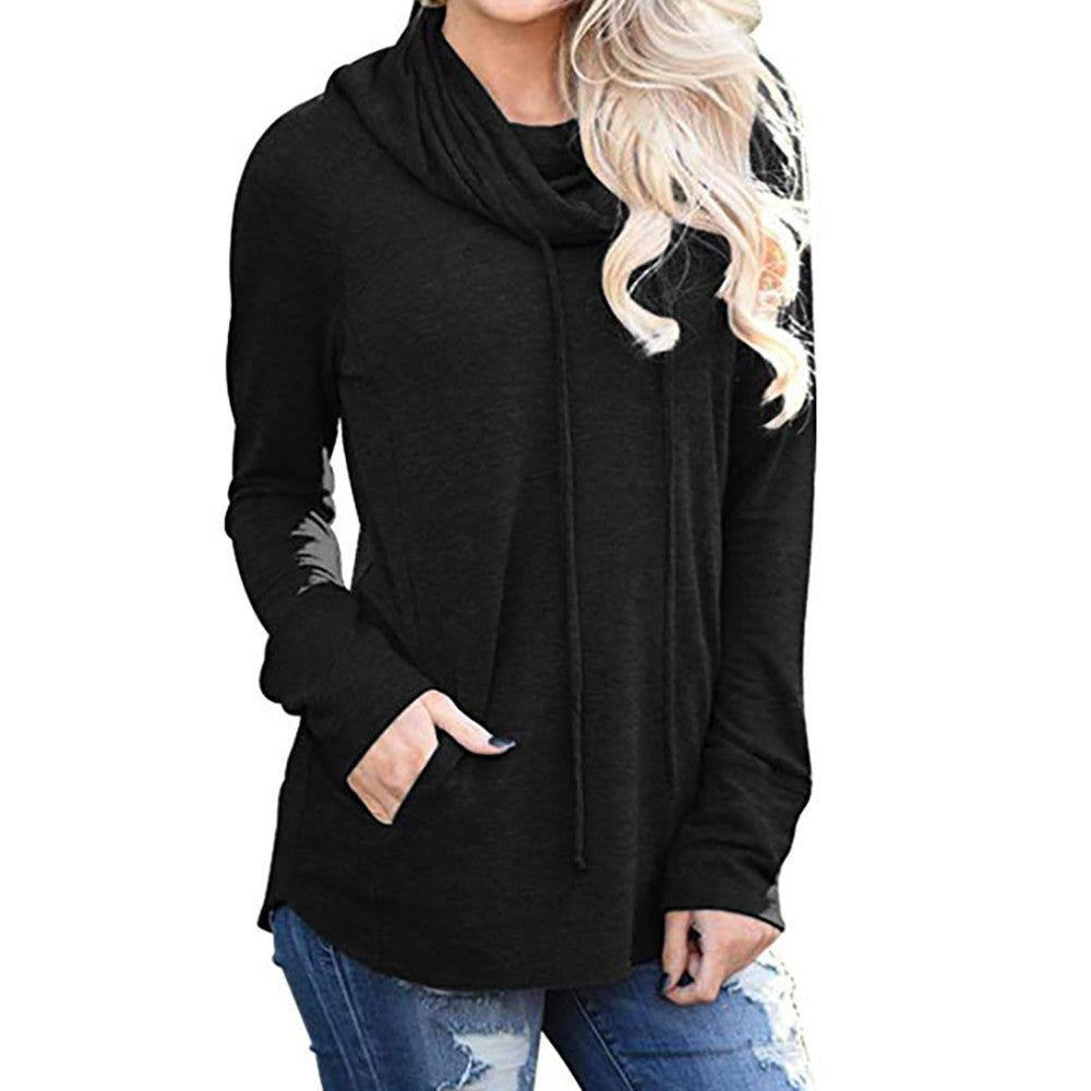 Womens Long Sleeve Cowl Neck Casual Sweatshirt Tops with Pockets