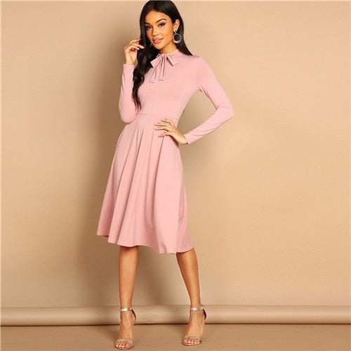 SHEIN Pink Bow Tie Neck Solid Flowy Slim Fit Dress Elegant Office Lady Turtleneck Knee Length Long Sleeve Spring Women Dresses
