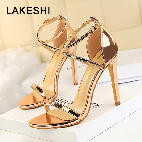 LAKESHI 2019 New Women Sandals Patent Leather Women High Heels Shoes Gold Sexy Women Pumps Fashion Wedding Shoes Women stiletto