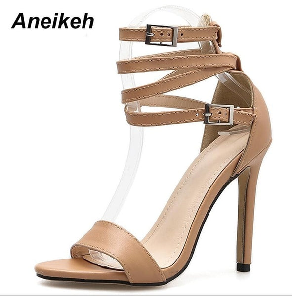 Aneikeh New Fashionable Sexy Design Women Gladiator Style Buckle Thin High Heels Black PU Open Toe Dress Sandals