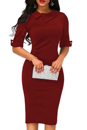 Elegant Womens BOHO Office Turn down Collar Formal Dress Ladies Business Work Party Sheath Tunic Pencil Dress
