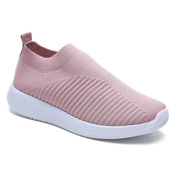 Women Shoes Breathable Spring Summer Vulcanized Shoes For Women Sneakers Slip On Flyknit Casual Shoes Soft Flat Walking Footwear