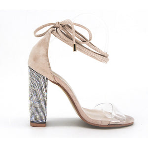 Heeled Sandals Bandage Rhinestone Ankle Strap Pumps Super High Heels 11 CM Square Heels Lady Shoes new #265