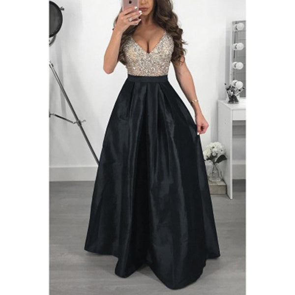 Women Evening Party Dresses 2018 Sleevelesss V Neck Beadings A Line Long Maxi Dress Lady Black Prom Gown Robe Longue Femme