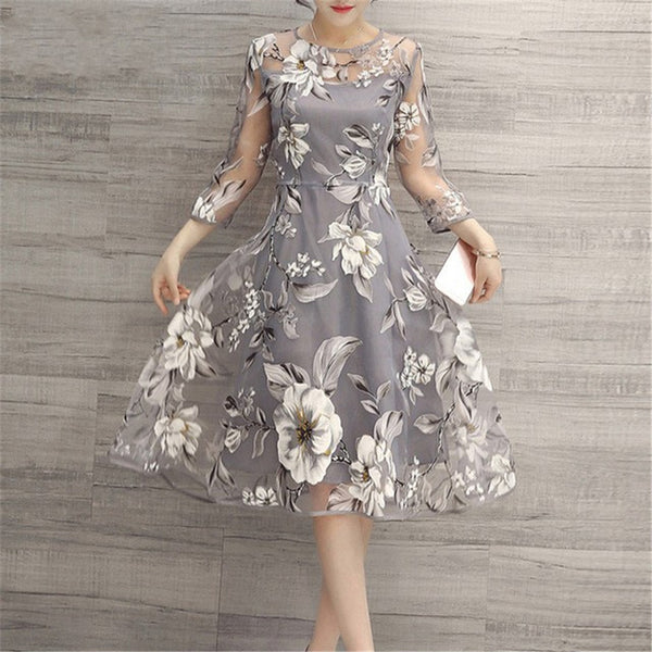 Mesh 2019 Summer Women Casual Elegant  High Waist A-line Dress Three Quarter Sleeve Vintage Party O Neck Floral Print Dresses