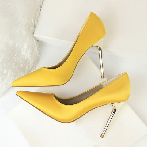 Metal Heel Shoes Women Silk Thin High Pumps Satin Heel Sexy Elegant High Heels Yellow 34 42 43 Pointed Fashion Female Shoes