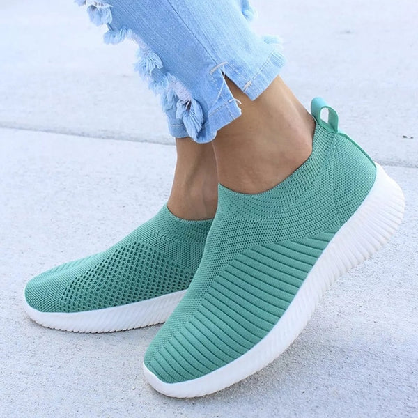 Fashion Sneakers For Women Trainers Mesh White Sock Sneakers Flat Shoes Knitted Vulcanized tenis feminino zapatillas mujer