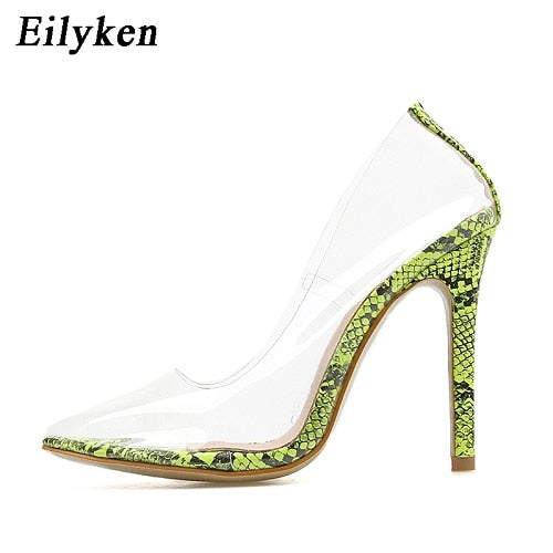 Eilyken 2019 New Sexy Green Serpentine PVC Transparent Crystal Female Sexy Pumps High Heels 12CM Party Dress Women Pumps Shoes