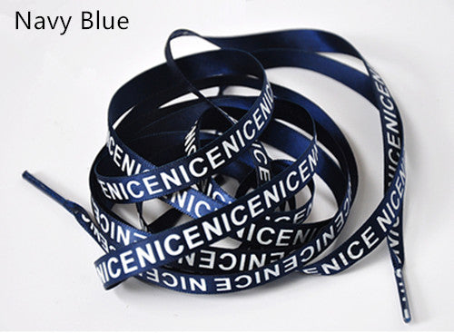 1Pair New Sneaker Flat Shoe Strings 120cm NICE Letter Printing Shoelaces 1cm Width Women Men Colorful Sports Casual Shoes Laces