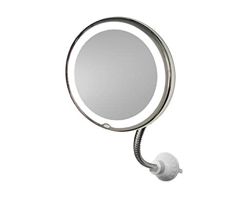 "MY FLEXIBLE MIRROR 10x Magnification 7"" Make Up Round Vanity Mirror for Home, Bathroom use with super strong suction cups As Seen On TV"
