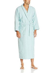 Superior 100% Cotton Waffle Robe with Terrycloth Lining and Shawl Collar, Oversized Unisex Hotel & Spa Bath Robes for Women and Men - L, Aqua