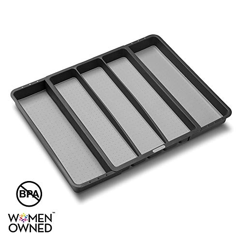 madesmart Expandable Utensil Tray - Granite| CLASSIC COLLECTION| 5-Compartments | Kitchen Organizer | Soft-Grip Lining | Easy to Clean | BPA-Free