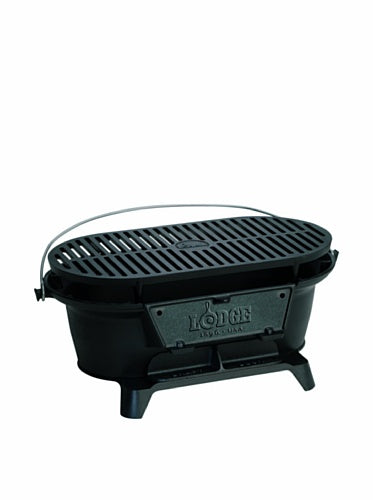 "Lodge Pre-Seasoned Cast Iron Sportsman's Grill With Coal Door, 10.25"" H x 8.25"" W x 19"" L, Black"
