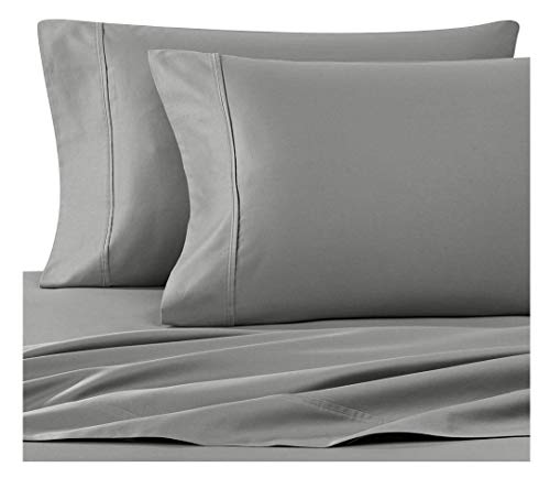 Wamsutta 400 Thread Count Solid Sateen Standard Pillowcases in Gray, Set of 2
