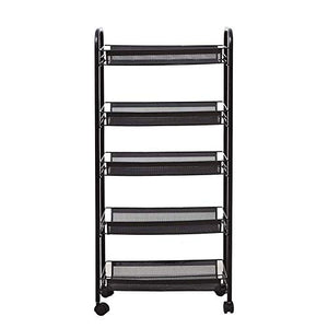 5-Tier Metal Mesh Rolling Storage Cart with Handle Portable Utility (White)