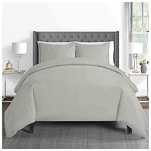 Sunham Home Fashions 625-Thread-Count Full/Queen Duvet Cover Set in Silver