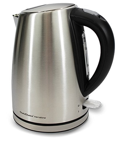 Chef'sChoice 681 Cordless Electric Kettle Handsomely Crafted in Brushed Stainless Steel Includes Concealed Heating Element Boil Dry Protection and Auto Shut Off, 1.7-Liter, Silver