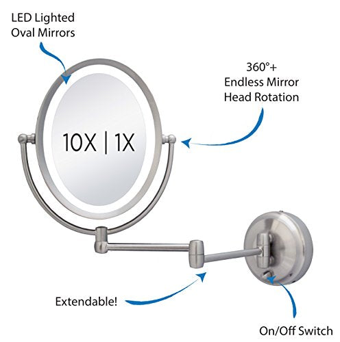 Zadro 10X/1X Next Generation LED Lighted Oval Wall Mount Mirror, Satin Nickel