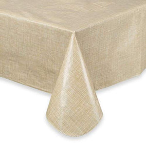 Monterey 70 Inch Round Umbrella Vinyl Tablecloth with Zipper in Natural