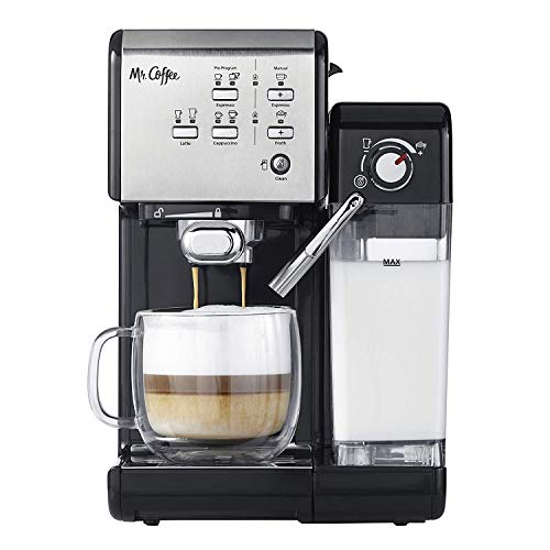 Mr. Coffee One-Touch Coffee House Espresso and Cappuccino Machine in Black Stainless