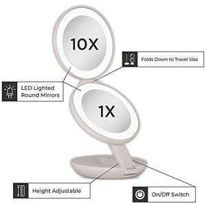 Zadro Dual LED Lighted 10X/1X Magnification Travel Mirror, White