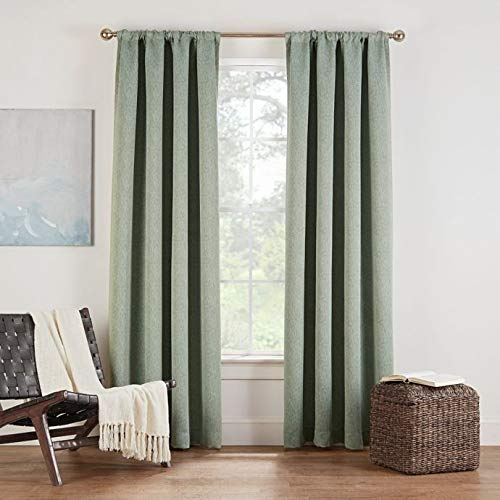Eclipse Twilight Luna 95-Inch Rod Pocket Room Darkening Window Curtain Panel in Basil