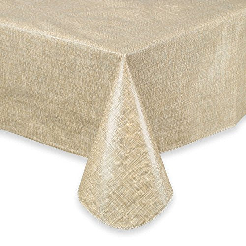 Vinyl Umbrella Tablelcoth Monterey Natural Flannel Backed 60 x 84 Zippered