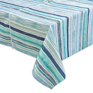 Destination Summer Laguna Striped Indoor/Outdoor Tablecloth 60 inch by 84 inch with Umbrella Hole