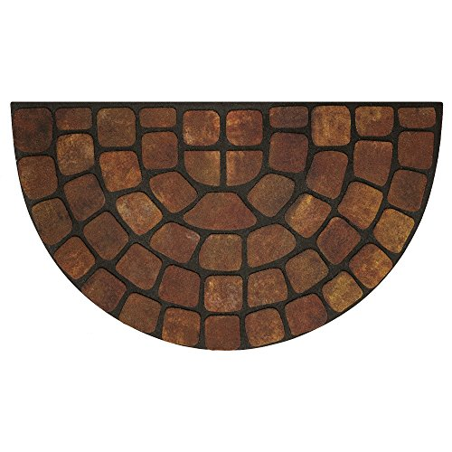 "Achim Home Furnishings RRM1830BS6 Beige Stone Slice Raised Rubber Door Mat, 18 by 30"", Black"
