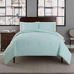 Garment Washed Solid King Comforter Set in Mint