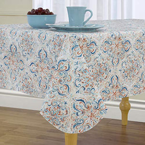 "Elrene Home Fashions Lola Medallion Stain Resistant Vinyl Tablecloth, 60"" x 120"", Multi"