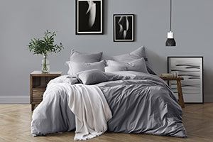 Swift Home 100% Cotton Washed Yarn Dyed Chambray Duvet Cover & Sham Bedding Set, Ultra-Soft Luxury & Natural Wrinkled Look – King/California King, Ash Grey