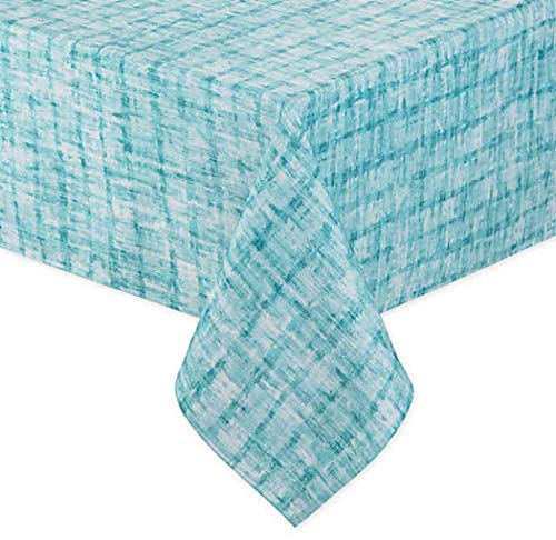 Destination Summer Essen Indoor/Outdoor Tablecloth in Aqua, 60 Inches by 84 Inches