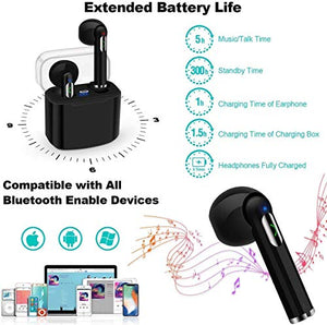 i7s TWS Sound Wireless Bluetooth Earphone Earbud Headphone Handsfree Sports Running Sweatproof Compatible iOS Android Noise Cancellation Charging Case Mic (Black)