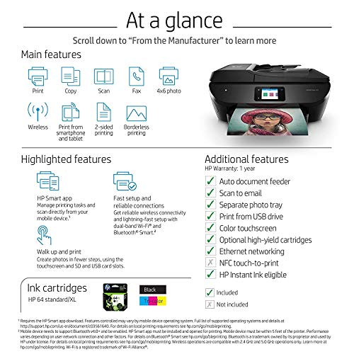 HP ENVY Photo 7855 All in One Photo Printer with Wireless Printing, Instant Ink ready (K7R96A)