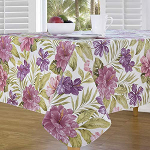 "Elrene Home Fashions Island Oasis Stain Resistant Vinyl Tablecloth, 60"" x 84"", Pink/Purple"