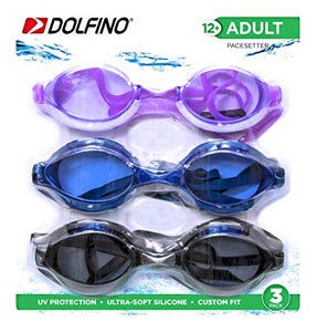Dolfino Adult 3 Pack Swim Goggles (Purple, Smoke, Blue)