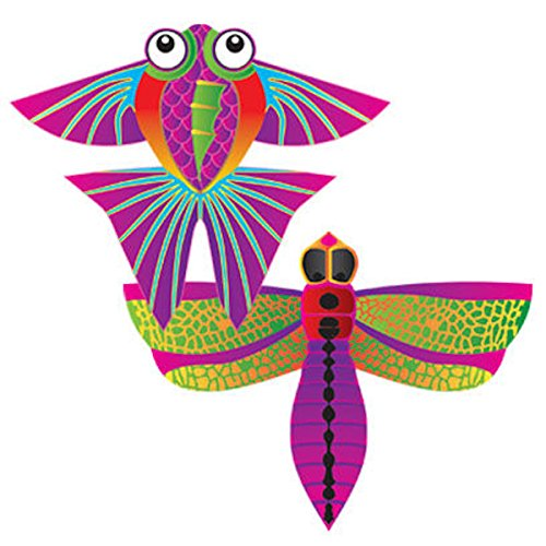 MicroKite 2 Pack, set of 2 Mini Mylar Kites, Dragonfly and Tropical Fish