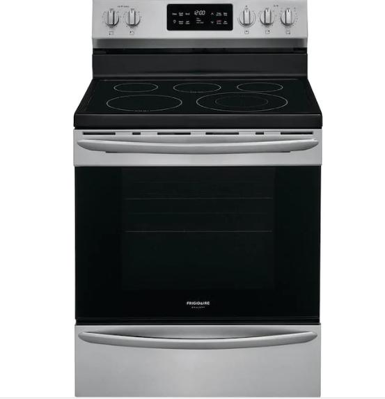 Frigidaire Gallery Smooth Surface 5 Elements 5.4-cu ft Self-Cleaning Convection Freestanding Electric Range (Smudge-Proof Stainless Steel