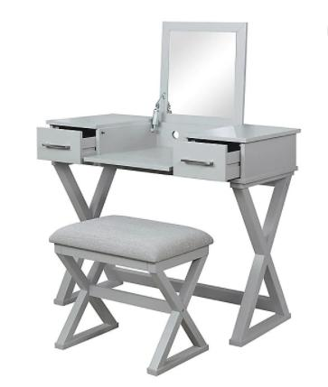 Alexis Bathroom Vanity with Stool in Grey