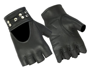 DS85 Women's Fingerless Glove with Rivets Detailing