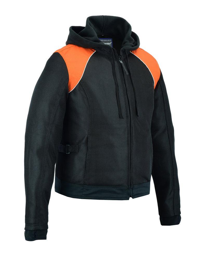 DS827 Women's Mesh 3-in-1 Riding Jacket (Black/Orange)