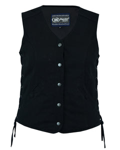DM908  Women's Denim Longer Body ¾ Vest - Side Laces