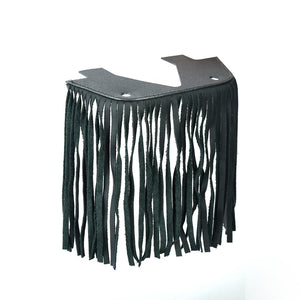 B1004 Black Leather Floor Boards with Fringe - Small