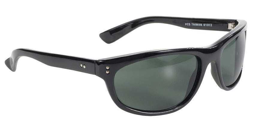 81012 Dirty Harry MC Sunglass Wrap Blk/Dk Green Lens